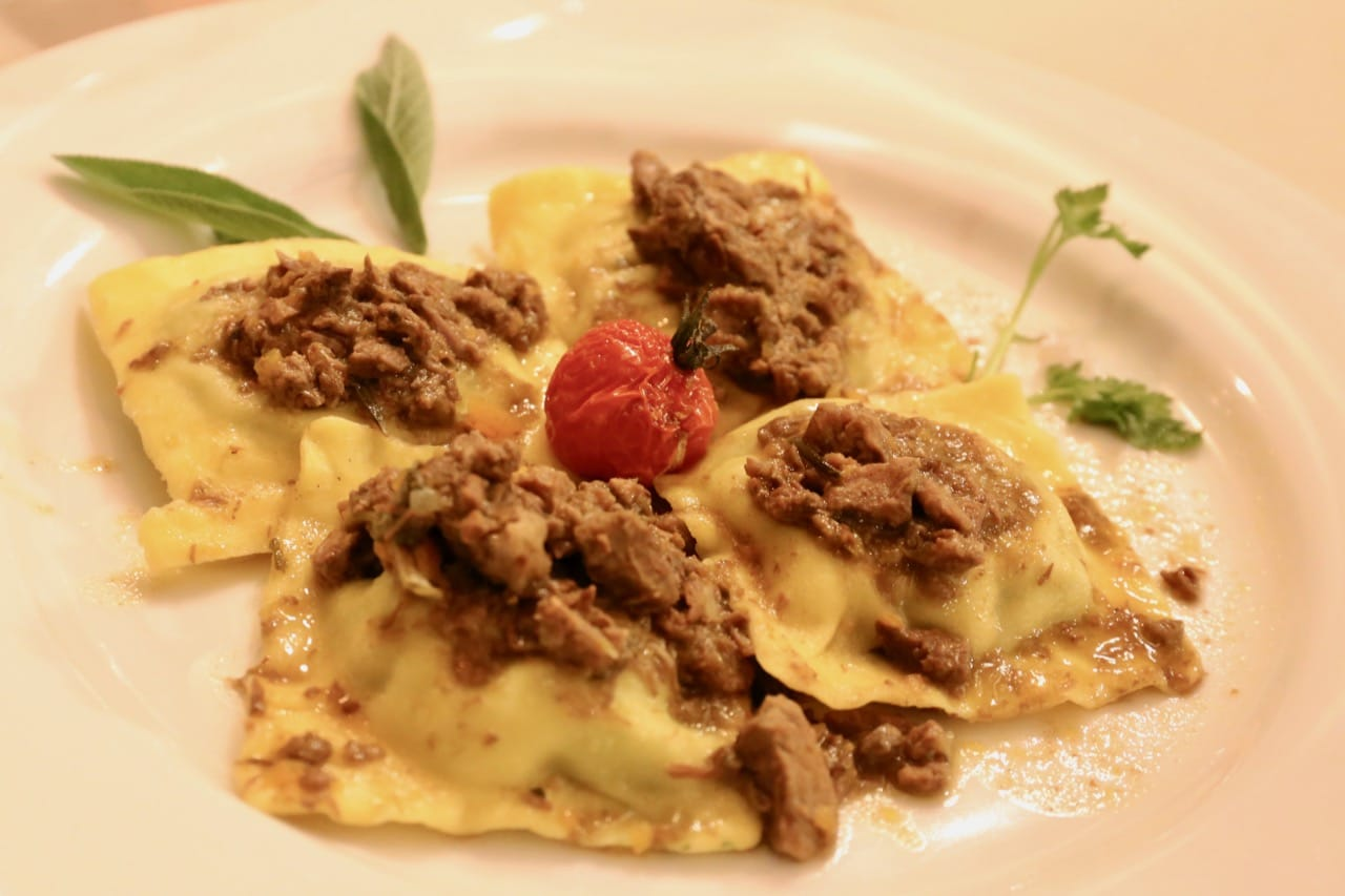 Maremma Tortellini is topped with Chianina beef.