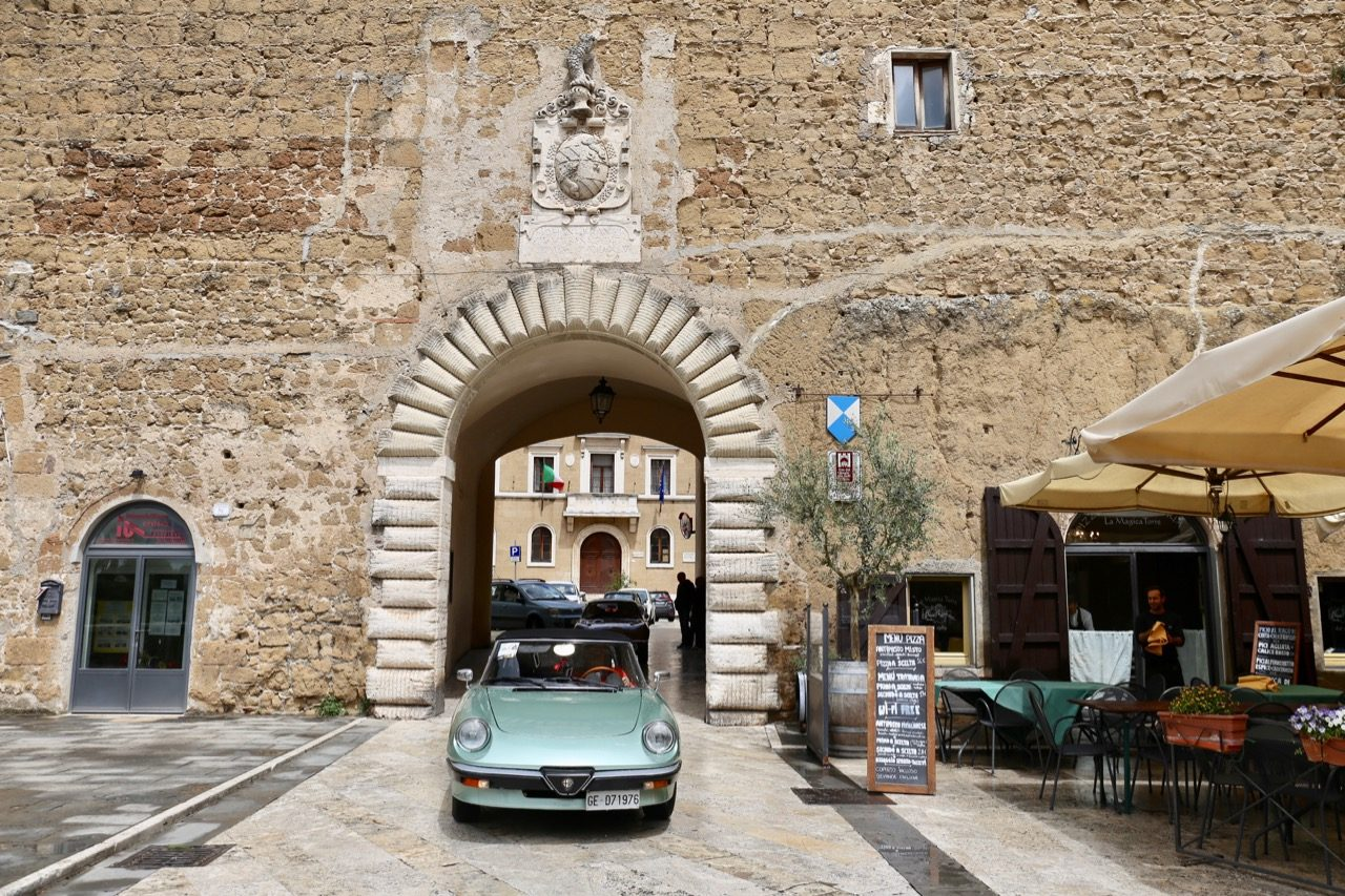The main entrance gate to Pitigliano Italy's Old Town.