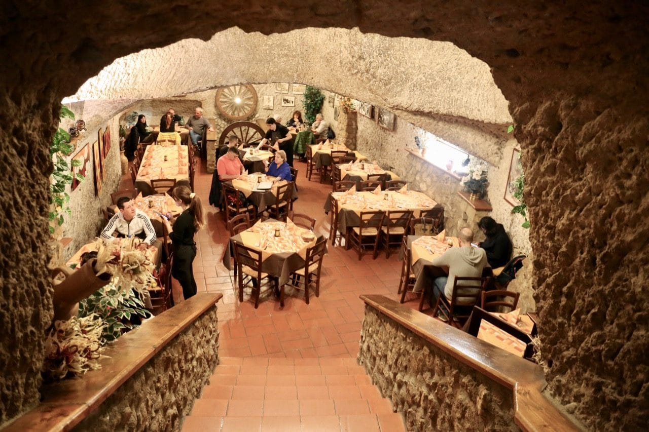 The dining room at Il Noce Trattoria is located in an old wine cave.
