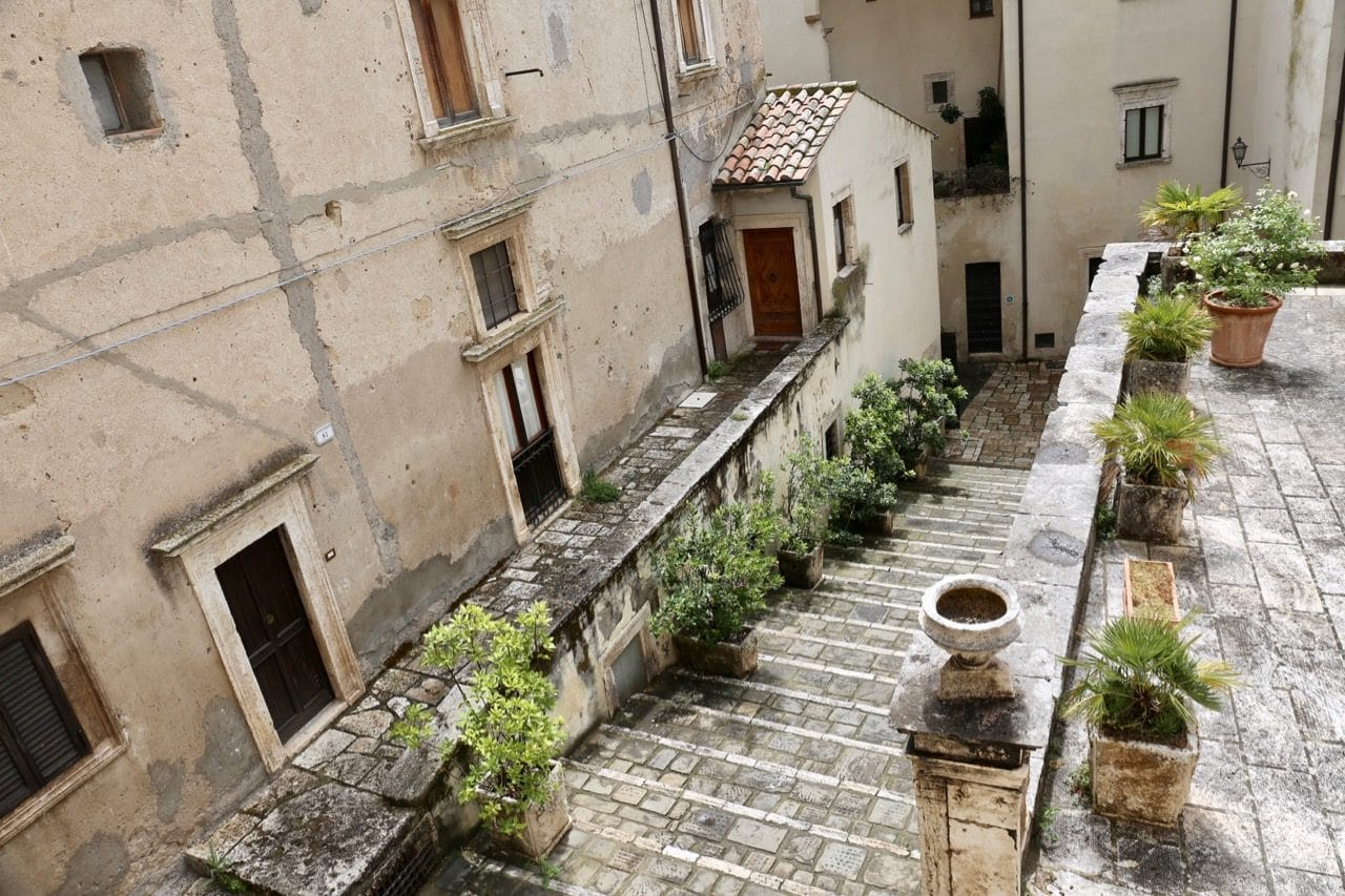 The steps leading up to Pitigliano Italy's Civic Archaeological Museum.