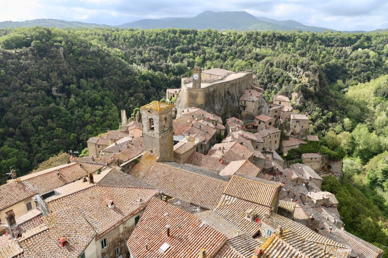 A jaw-dropping view of Sorano from our suite at Hotel della Fortezza.