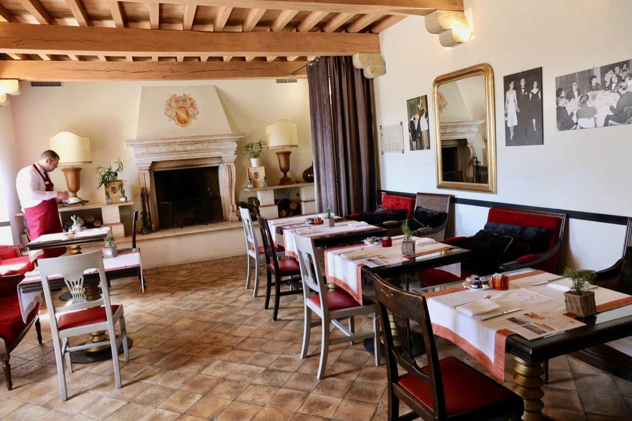 The intimate dining room at Castello di Velona's restaurant.