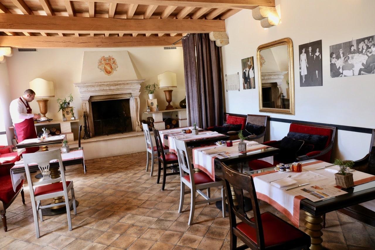 The intimate dining room at Castello di Velona's restaurant.
