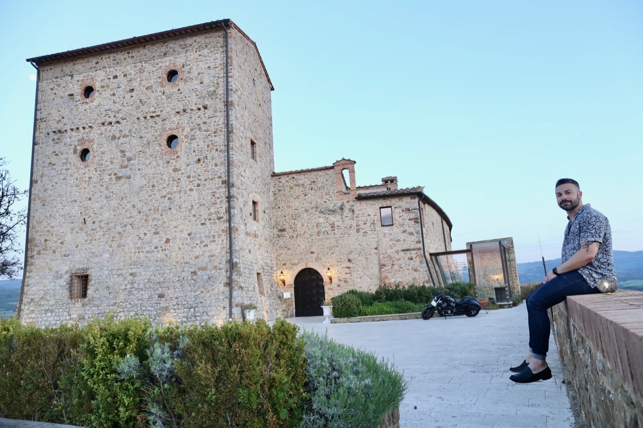 The entrance to Castello di Velona, a boutique luxury hotel in Montalcino.