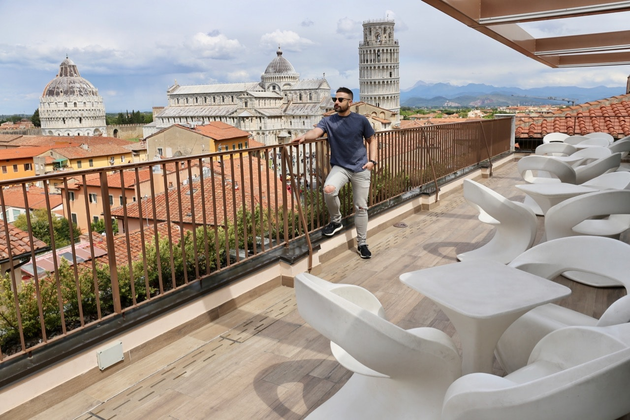 The rooftop at Grand Hotel Duomo Pisa offers the best views of Piazza del Duomo.