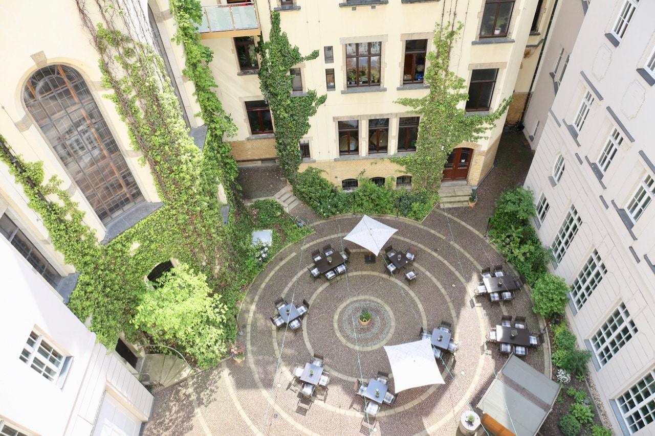 A birds-eye-view of Furstenhof Hotel's quiet inner courtyard.