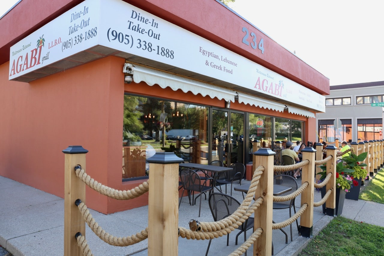 Agabi Oakville is a Mediterranean restaurant with a patio perched over Kerr Street.