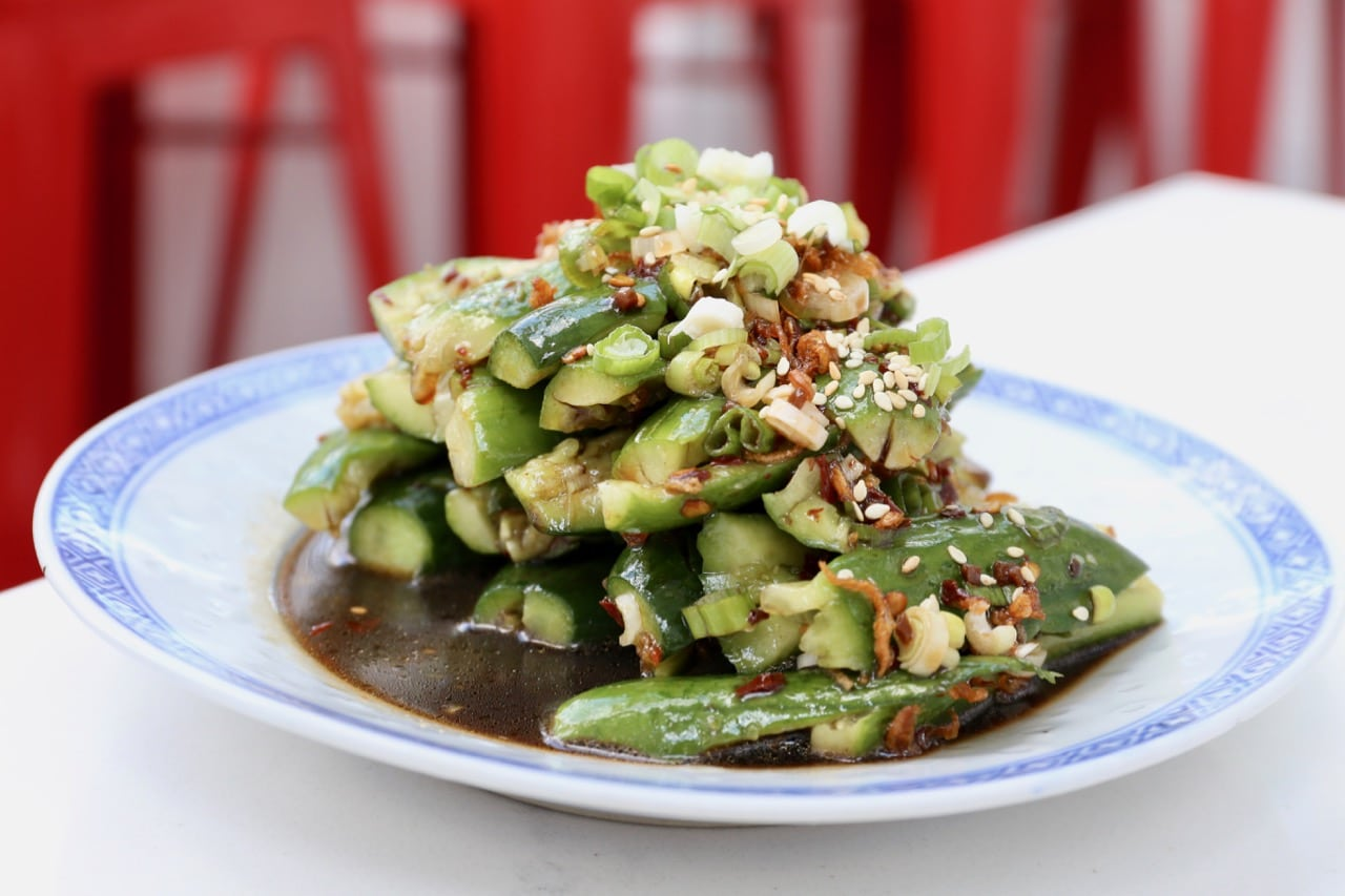 Chinese cucumber salad at Chop Chop Toronto.