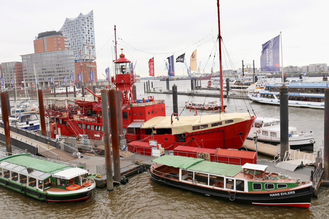 Appreciate Hamburg's bustling harbour by strolling along City Sporthafen.