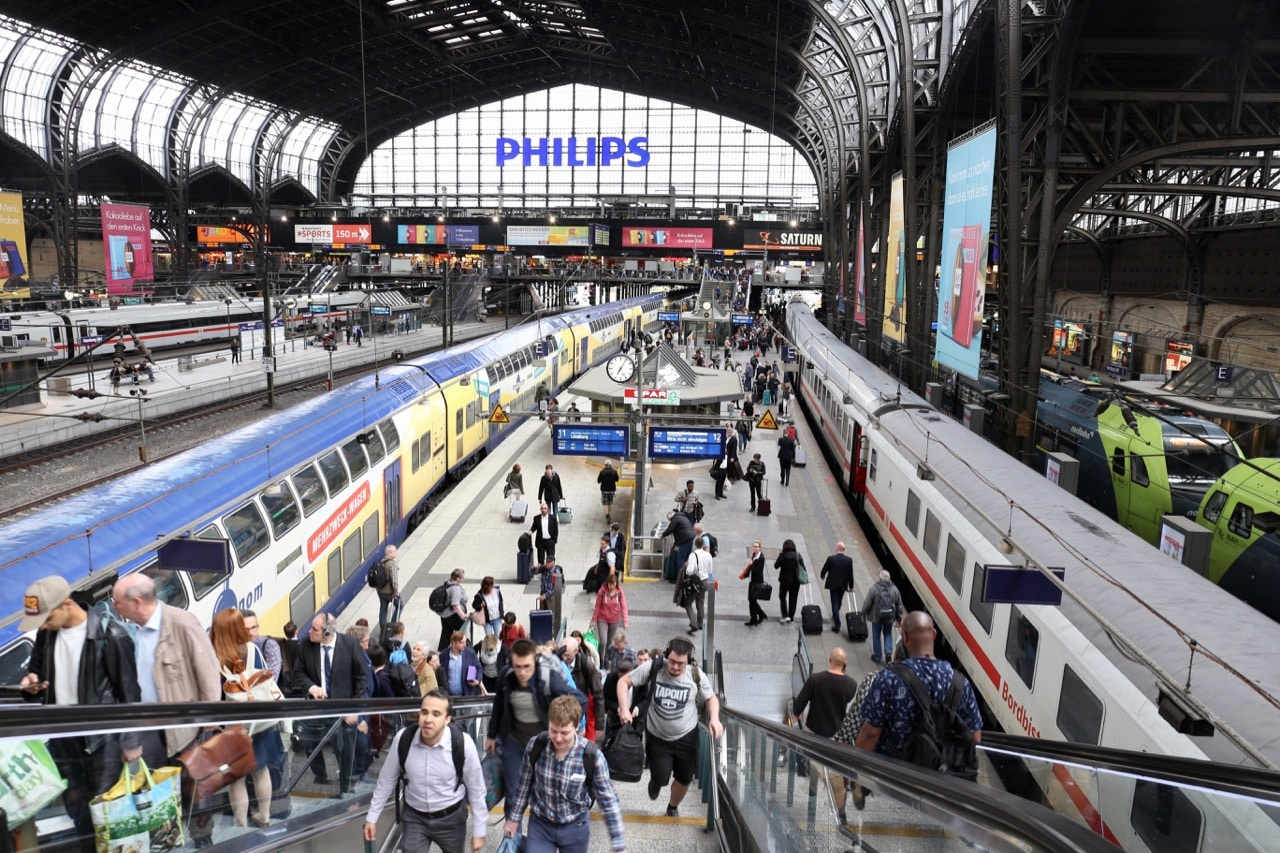 Begin your Gay Hamburg weekend getaway at the city's bustling train station.