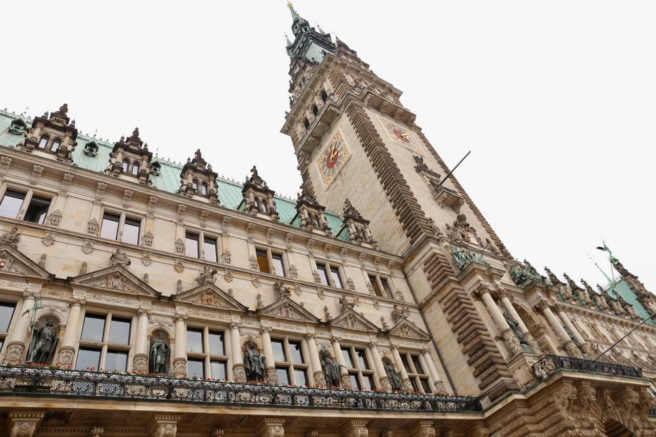 Gawk at the awesome architecture of Hamburg's Townhall.