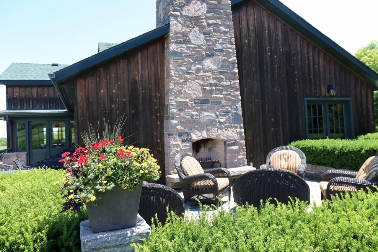 Beamsville Wineries: Hidden Bench Estate Winery's outdoor patio features a fireplace.