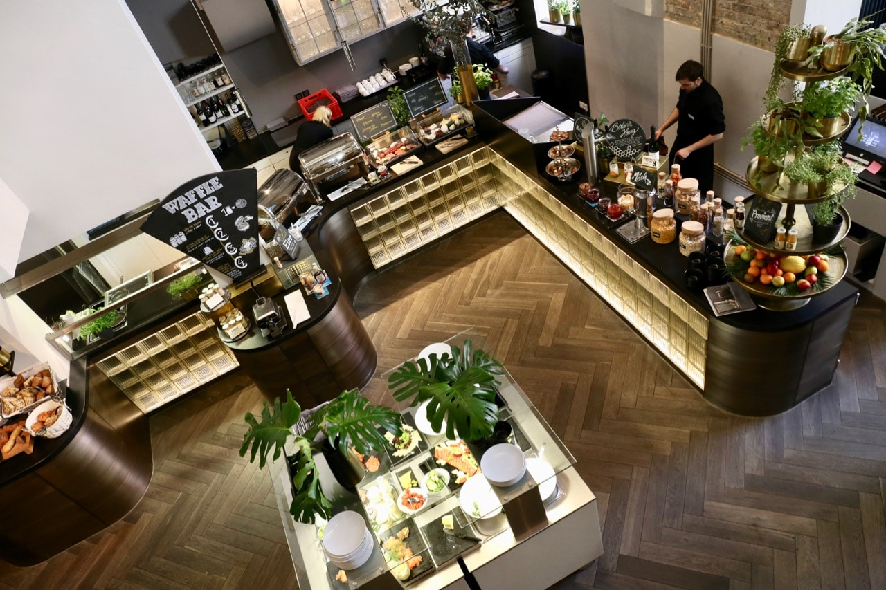 Hotel guests gather each morning for a brunch buffet at Restaurant Oderberger.