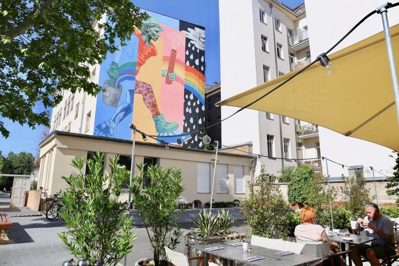 A street art masterpiece can be enjoyed at Restaurant Oderberger's patio.