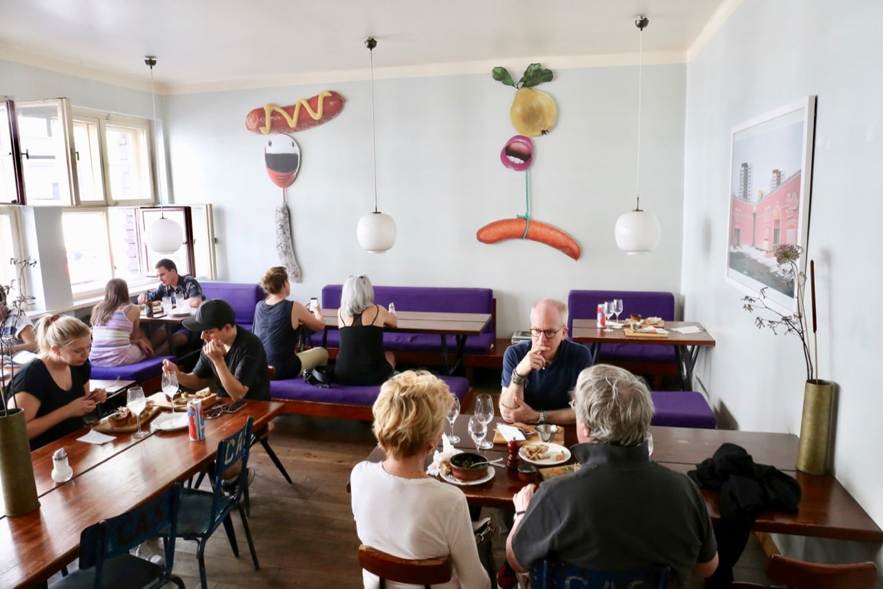 Mogg is a colourful restaurant serving Jewish deli dishes in Berlin.