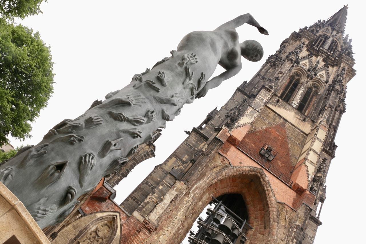 St. Nikolai Memorial features a stunning contemporary sculpture.