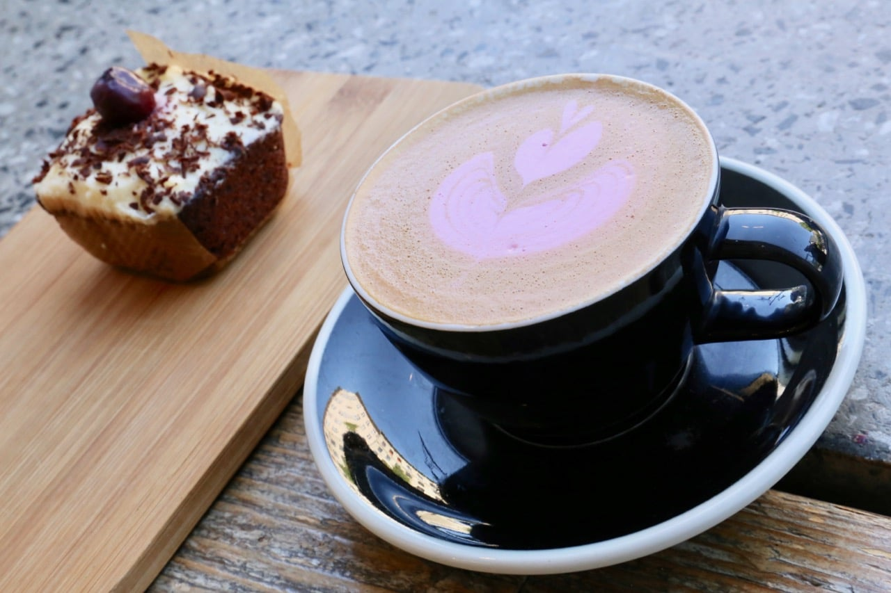 Best Berlin Food: The Barn's Beet Latte with Black Forest Cake.