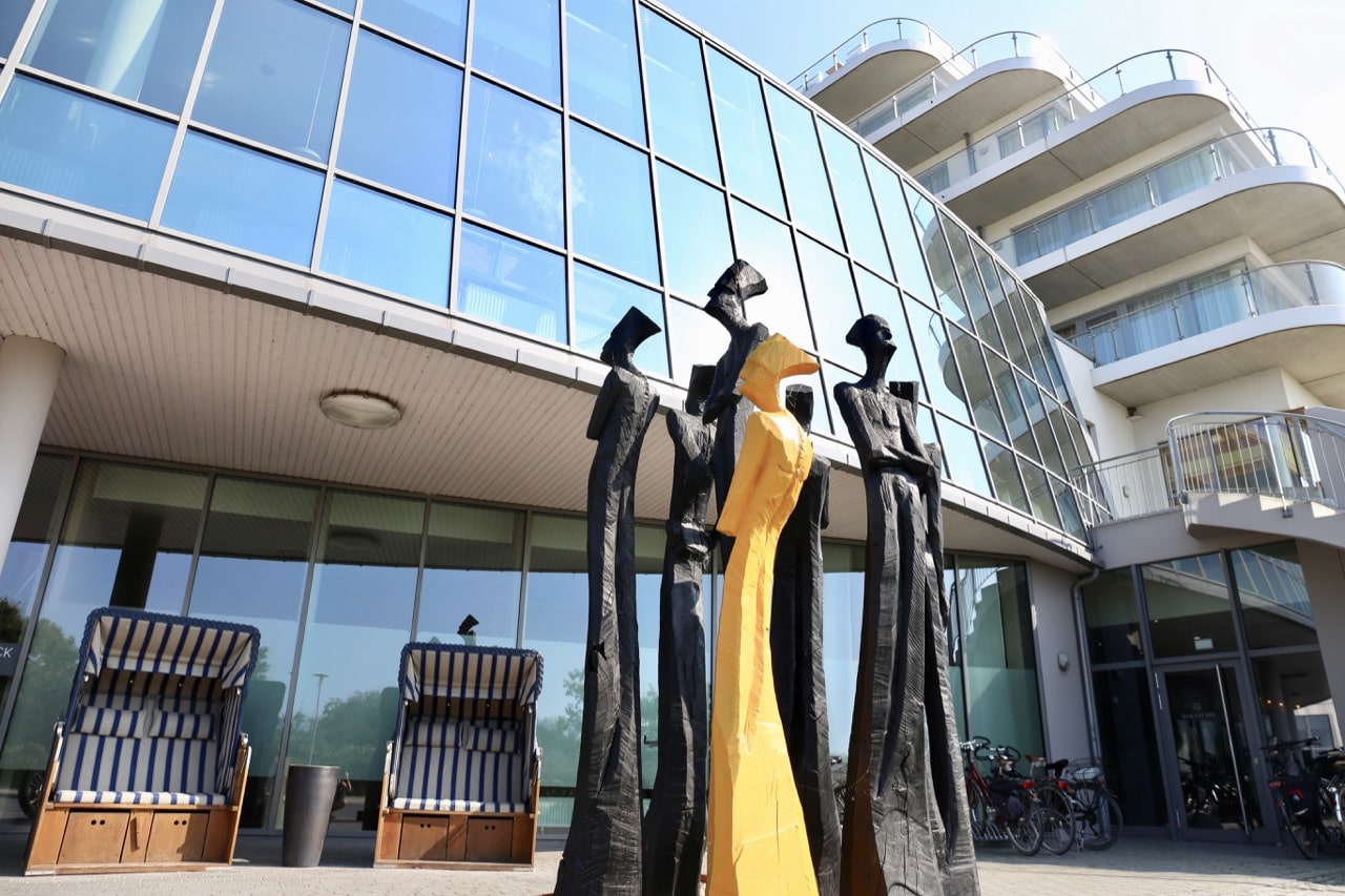 A clutch of contemporary sculptures greet guests at The Grand Ahrenshoop.