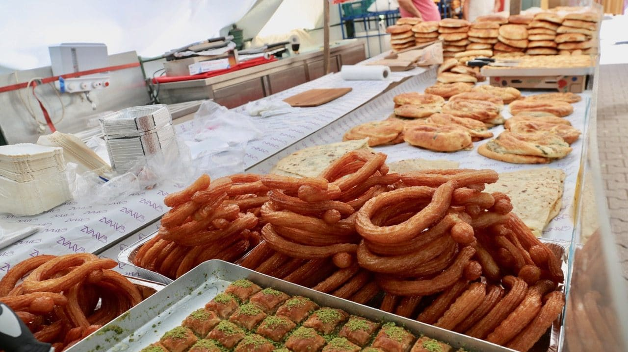 The Turkish Market sells Istanbul-style pastries and bread for a cheap meal.