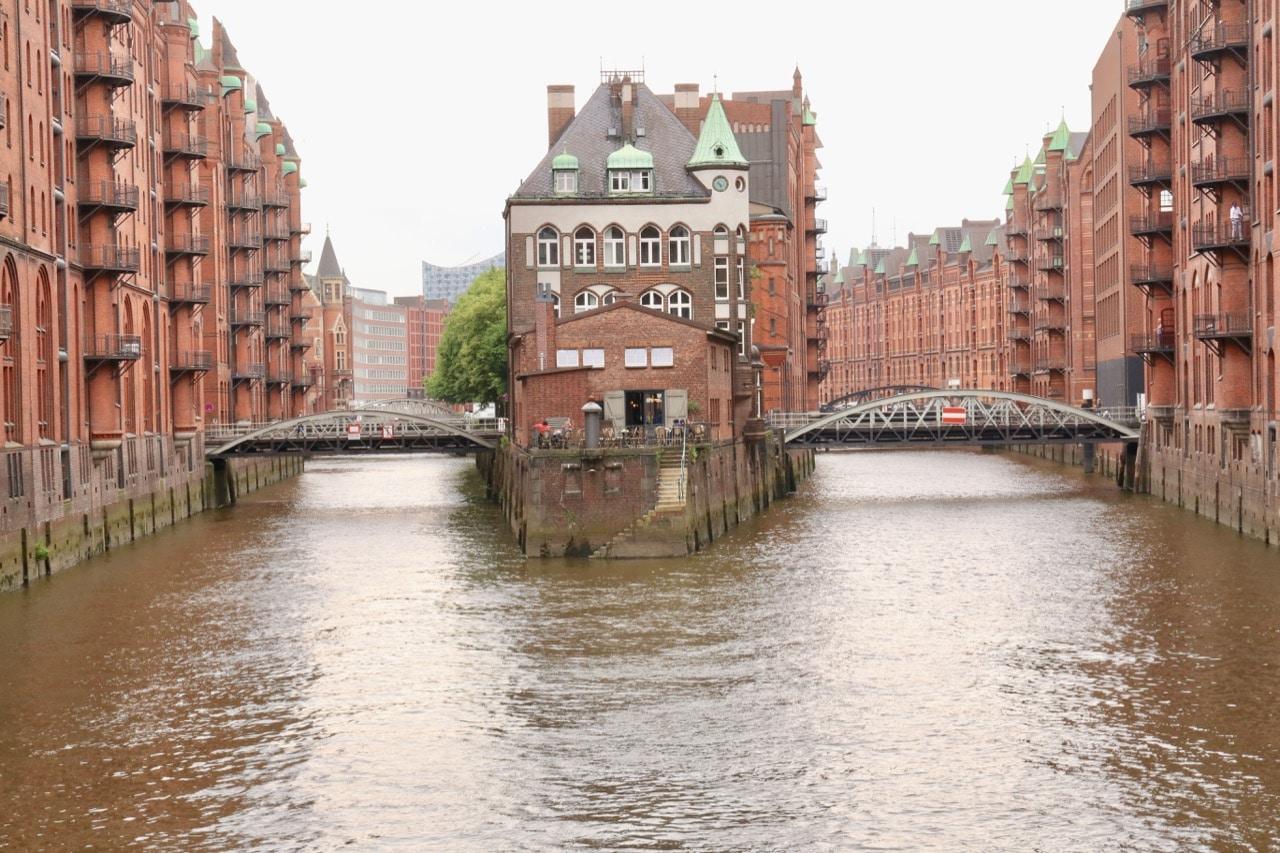 The most photographed bridge in gay Hamburg is Wasserschloss Speicherstadt.