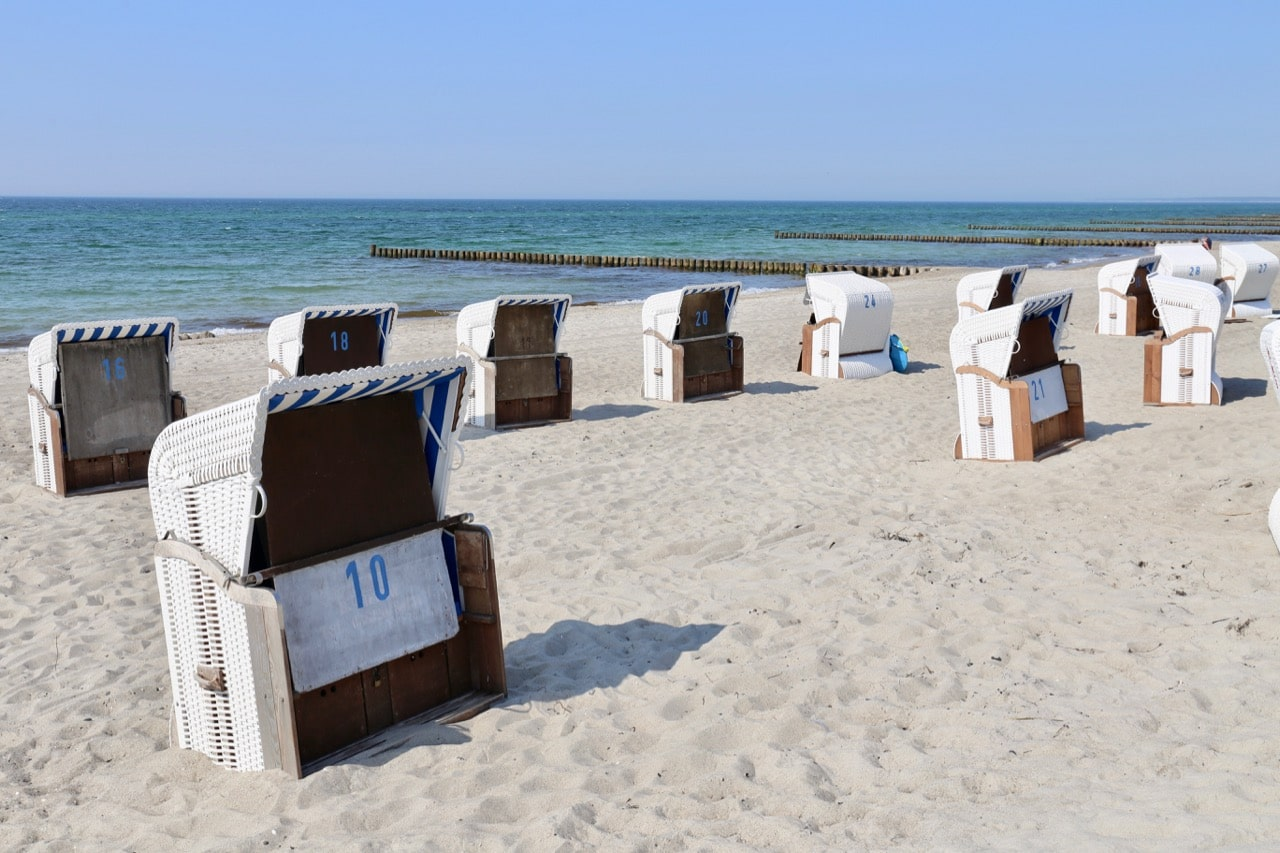 Rent a Strandkorb to keep your skin out of the sun when visiting beaches in Germany.
