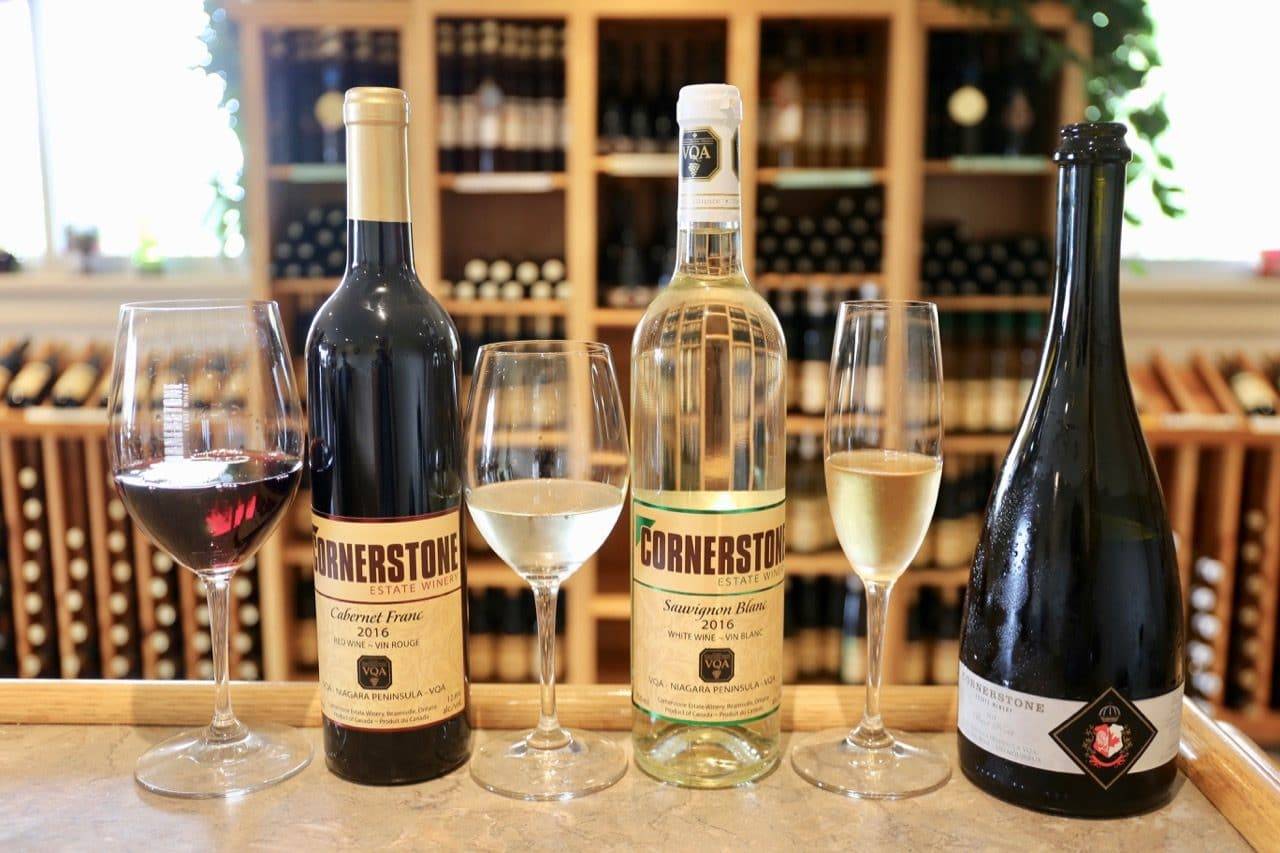 Pinot Noir Sparkling, Barrel Aged Sauvignon Blanc and Cabernet Franc at Cornerstone Estate Winery.