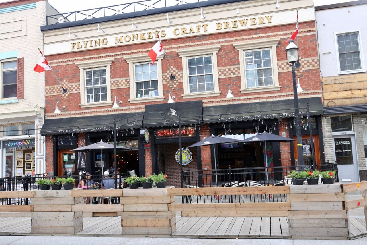 The Flying Monkeys Brewery patio is a popular spot to drink craft beer in Barrie.