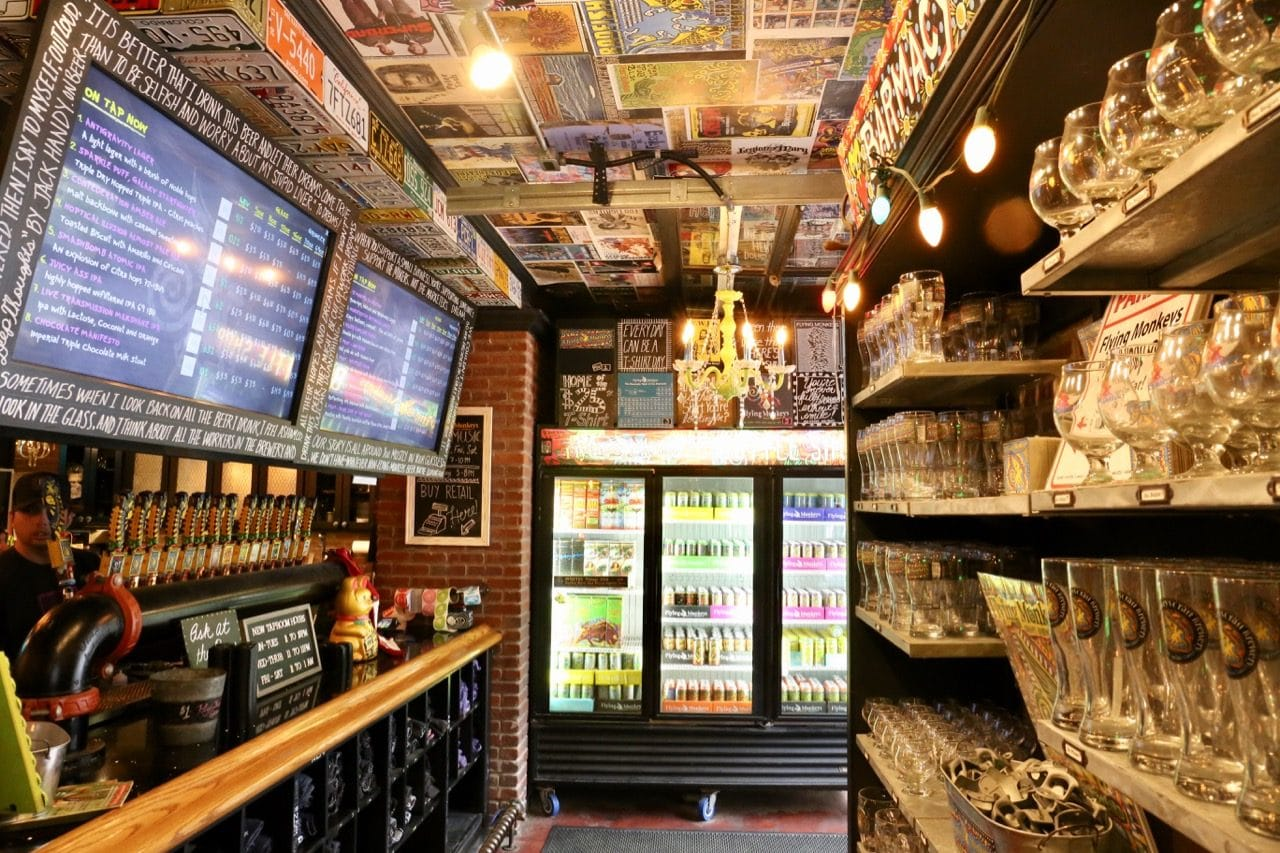 Take home Barrie's best craft beer by visiting Flying Monkeys Bottle shop in Barrie.