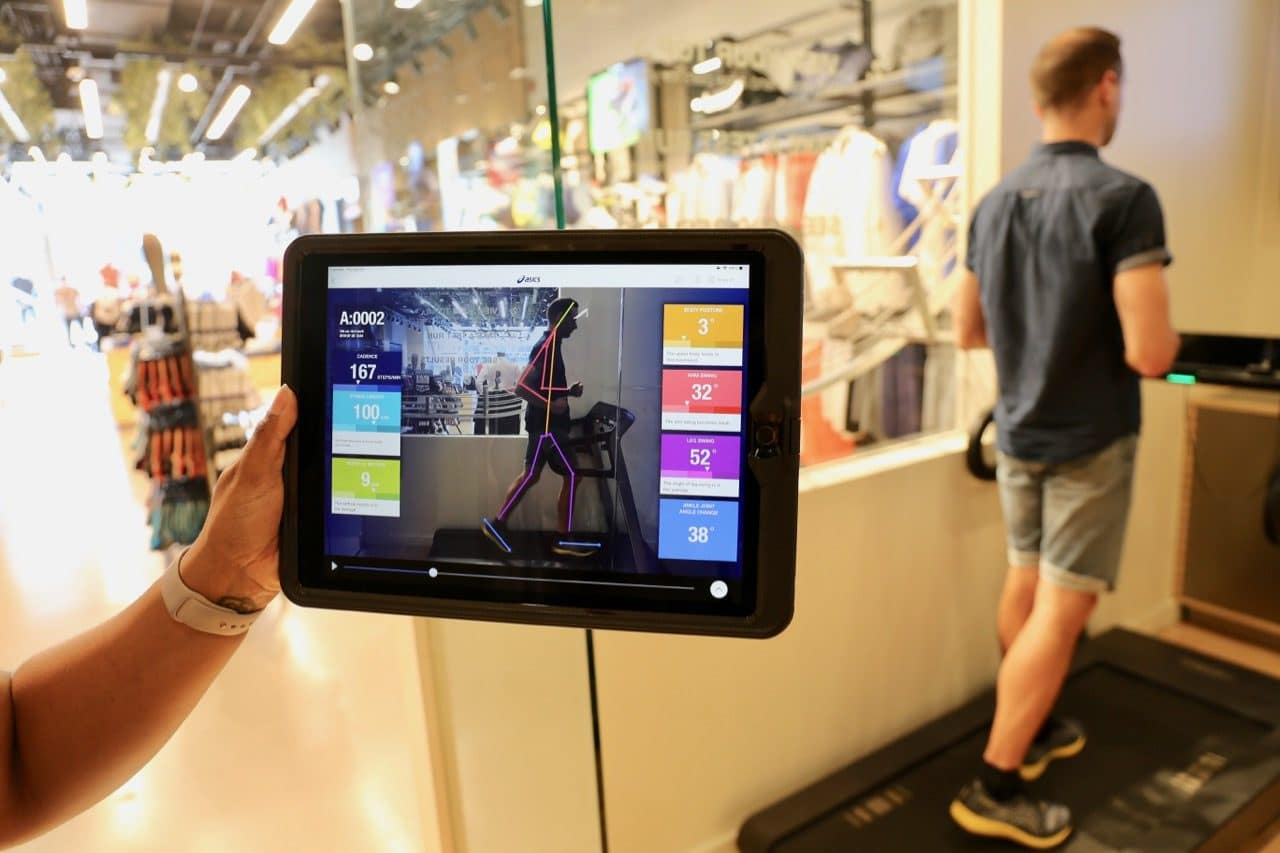 Asics uses an iPad to do a full digital gait assessment prior to choosing the perfect pair of running shoes.