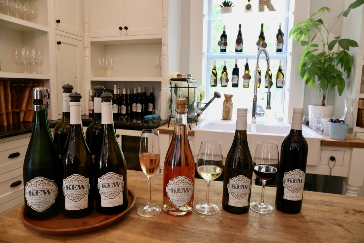 Rosalie Pinot Noir Rose, Marsanne and Soldier's Grant Cabernet at Kew Vineyards Estate Winery.