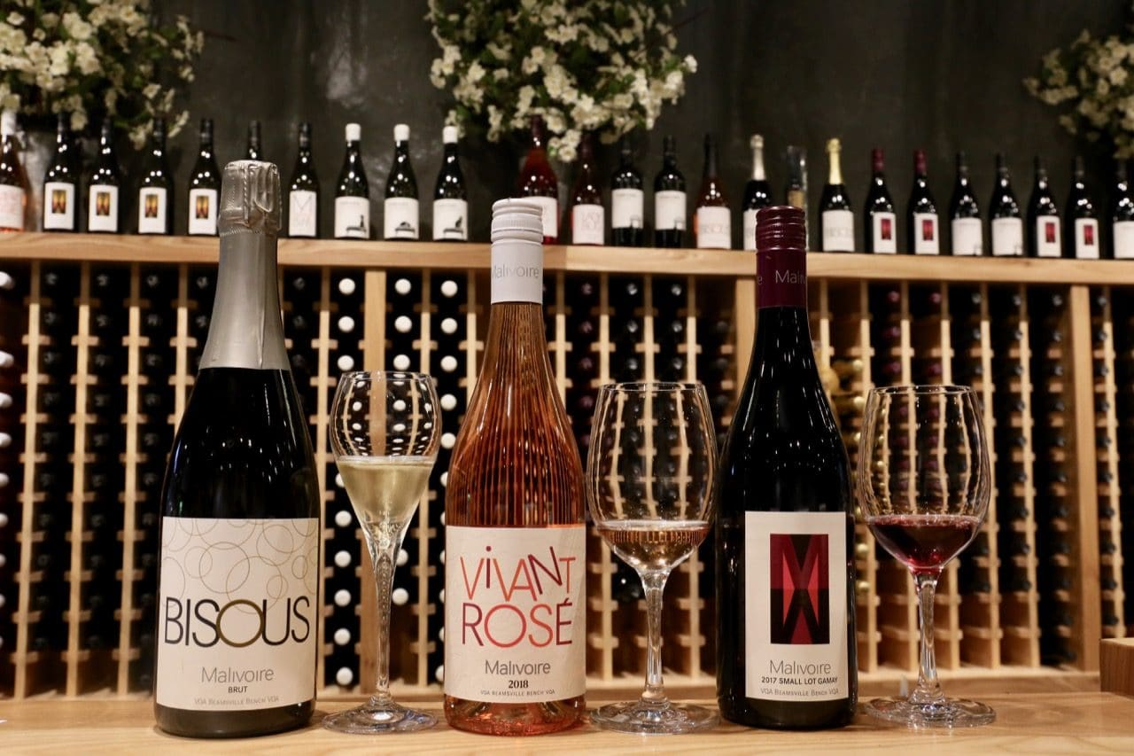 Bisous Brut NV, Rose Vivant and Small Lot Gamay at Malivore Wine Company.