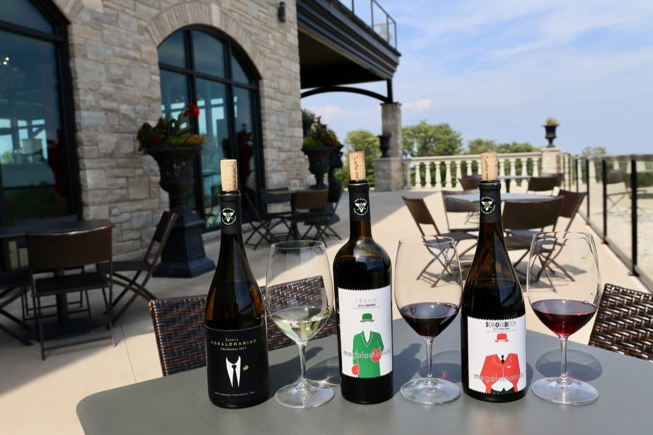 Enjoy a wine tasting on the patio at Megalomaniac Winery.