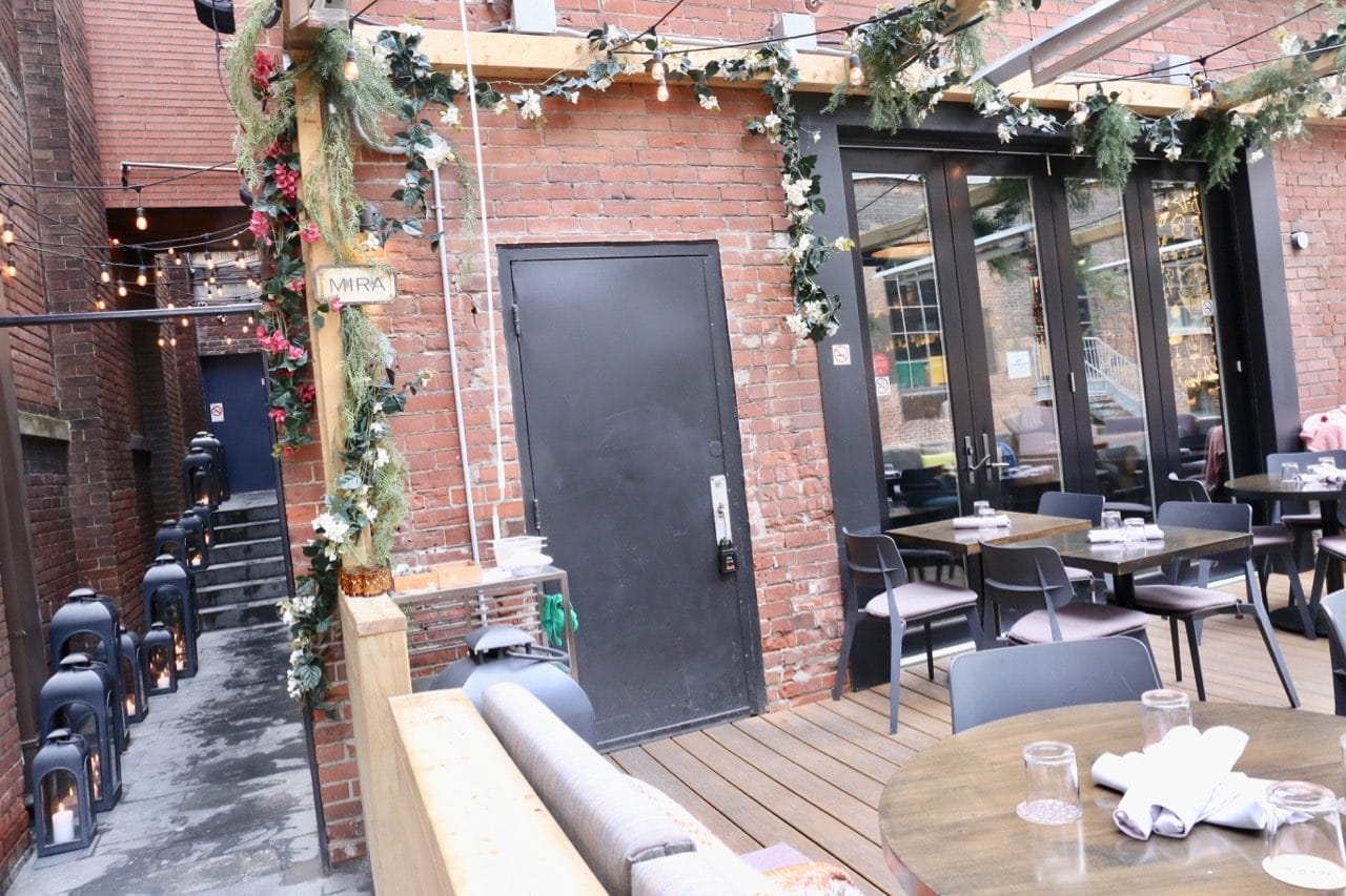The patio at Mira, a Peruvian restaurant in King West Village in Toronto.