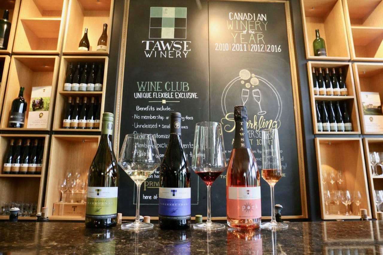 Spark! Rose, Robyn's Block Chardonnay and David's Block Cabernet Franc at Tawse Winery.