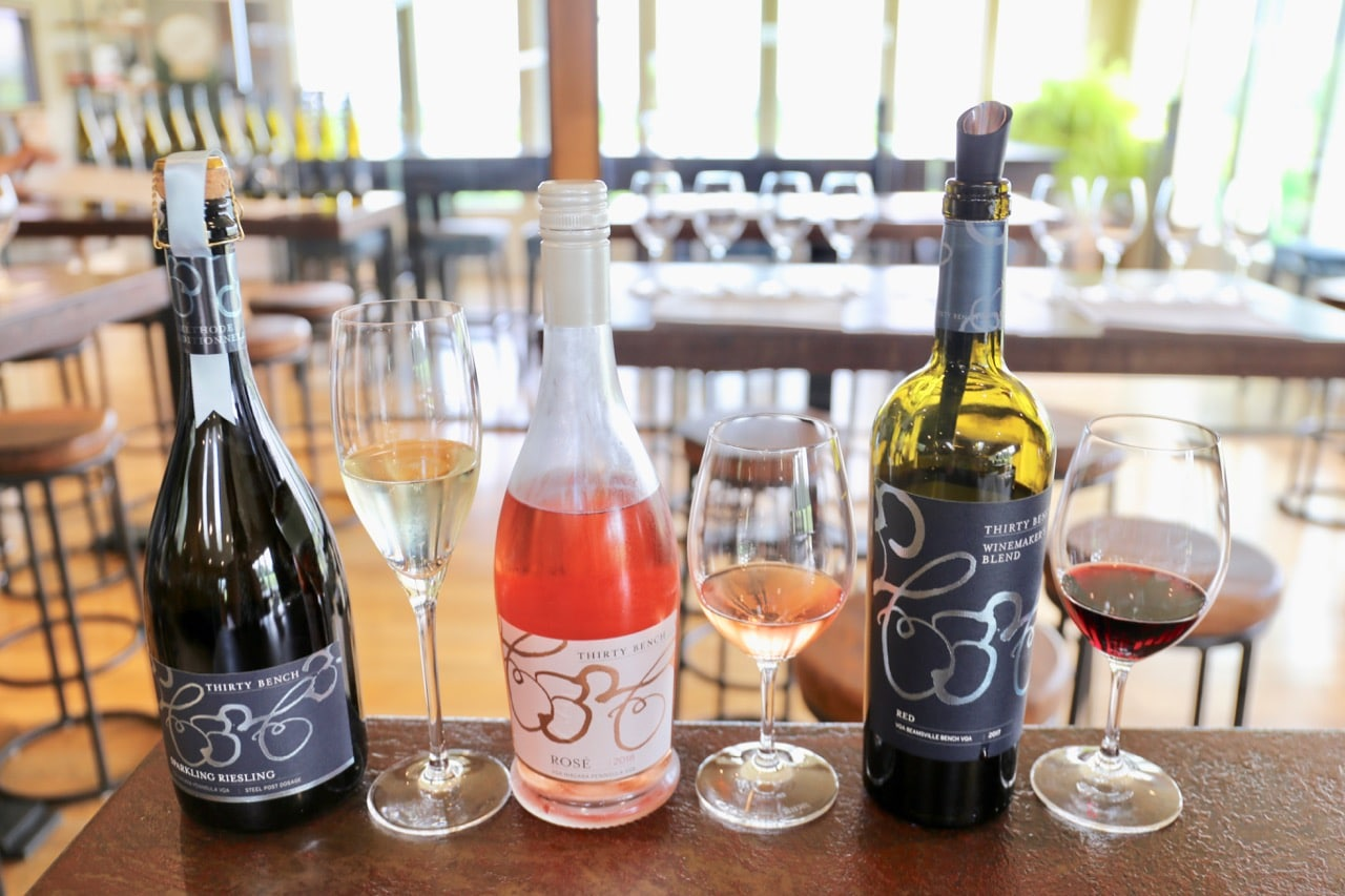 Sparkling Riesling, Small Lot Rose and Winemaker's Red at Thirty Bench Wine Makers.