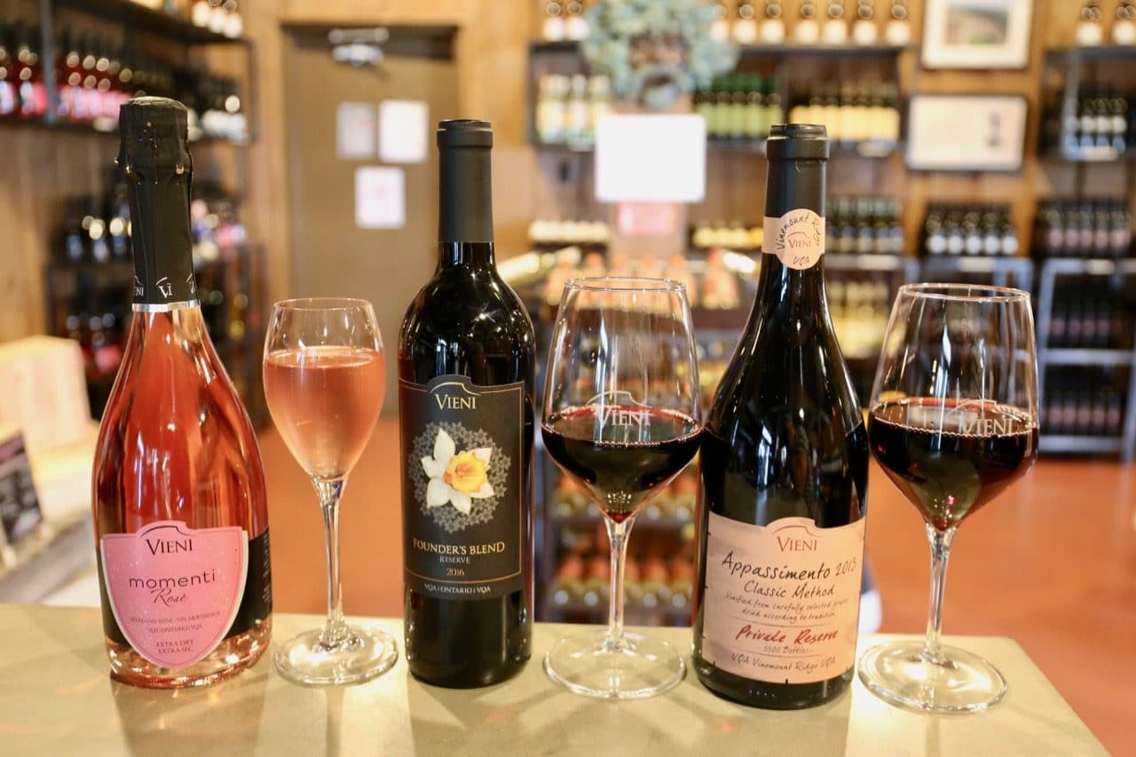 Momenti Rose Extra Dry, Founder's Blend Reserve and Appassimento Classic Method at Vieni Estates.