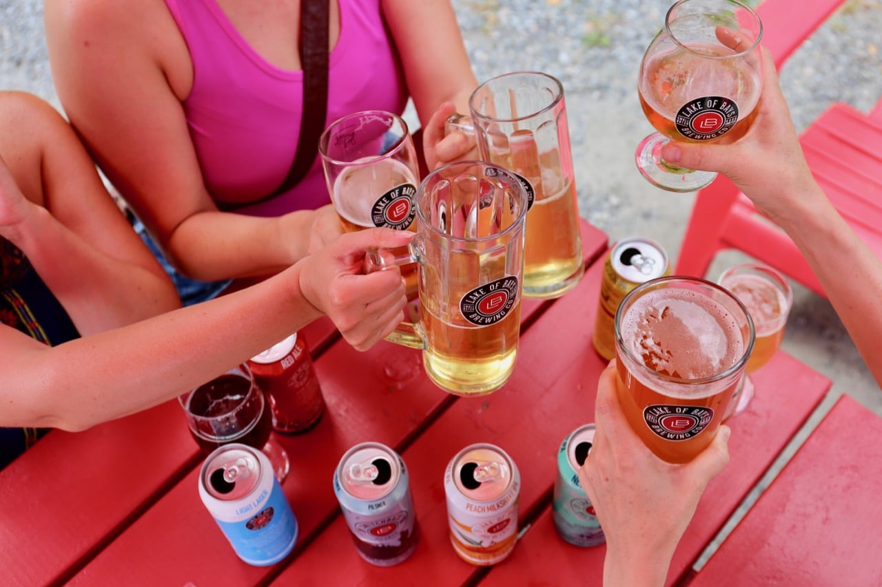 Enjoy a craft beer tasting on the Lake of Bays Brewing patio.