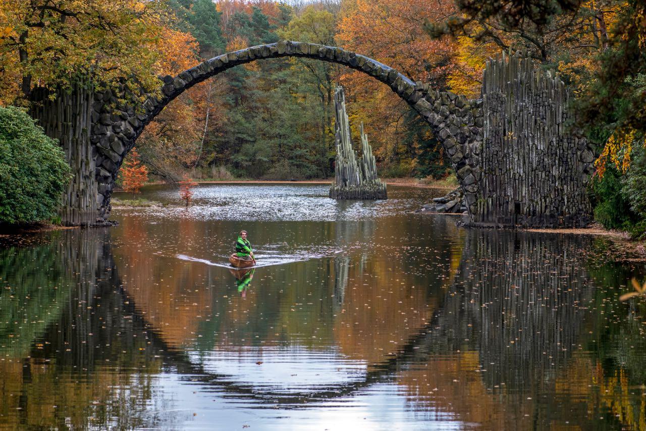 Day Trips From Berlin: Paddle under Rakotzbrucke Devil's Bridge.
