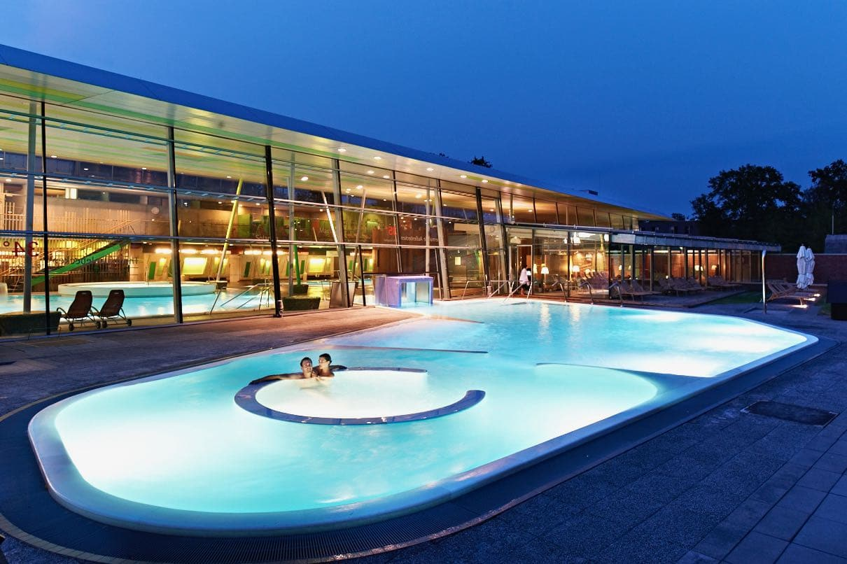 Spreewald Therme is a modern spa facility featuring indoor and outdoor wellness areas.