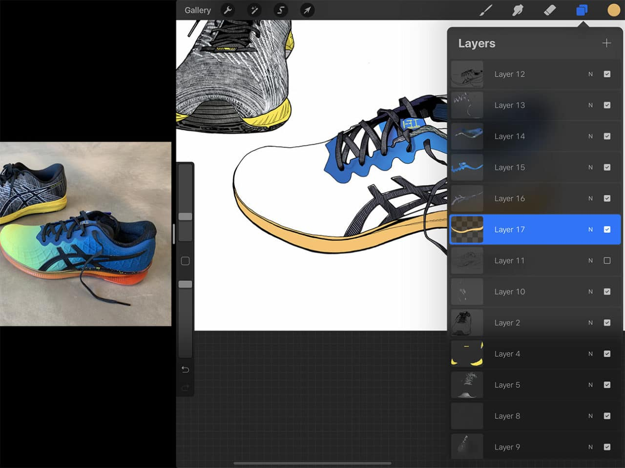 "Special digital drawing features like the ""alpha lock"" are an advantage to drawing shoes on Procreate."