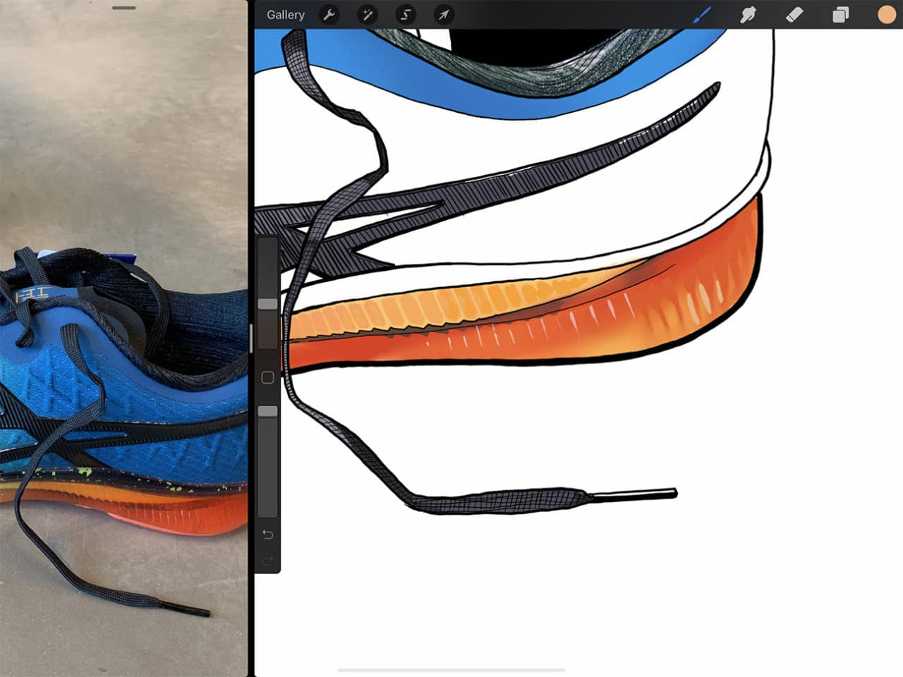 Creating textures from shiny underfoot GEL technology to finely woven shoe laces are no problem on Procreate.