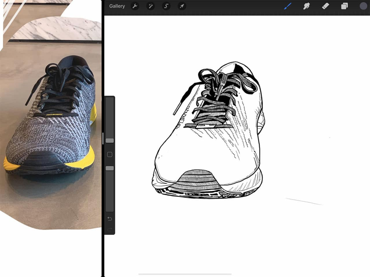 Procreate tutorial: the steps for how to draw shoes are nearly the same on iPad Pro as they would be on paper.