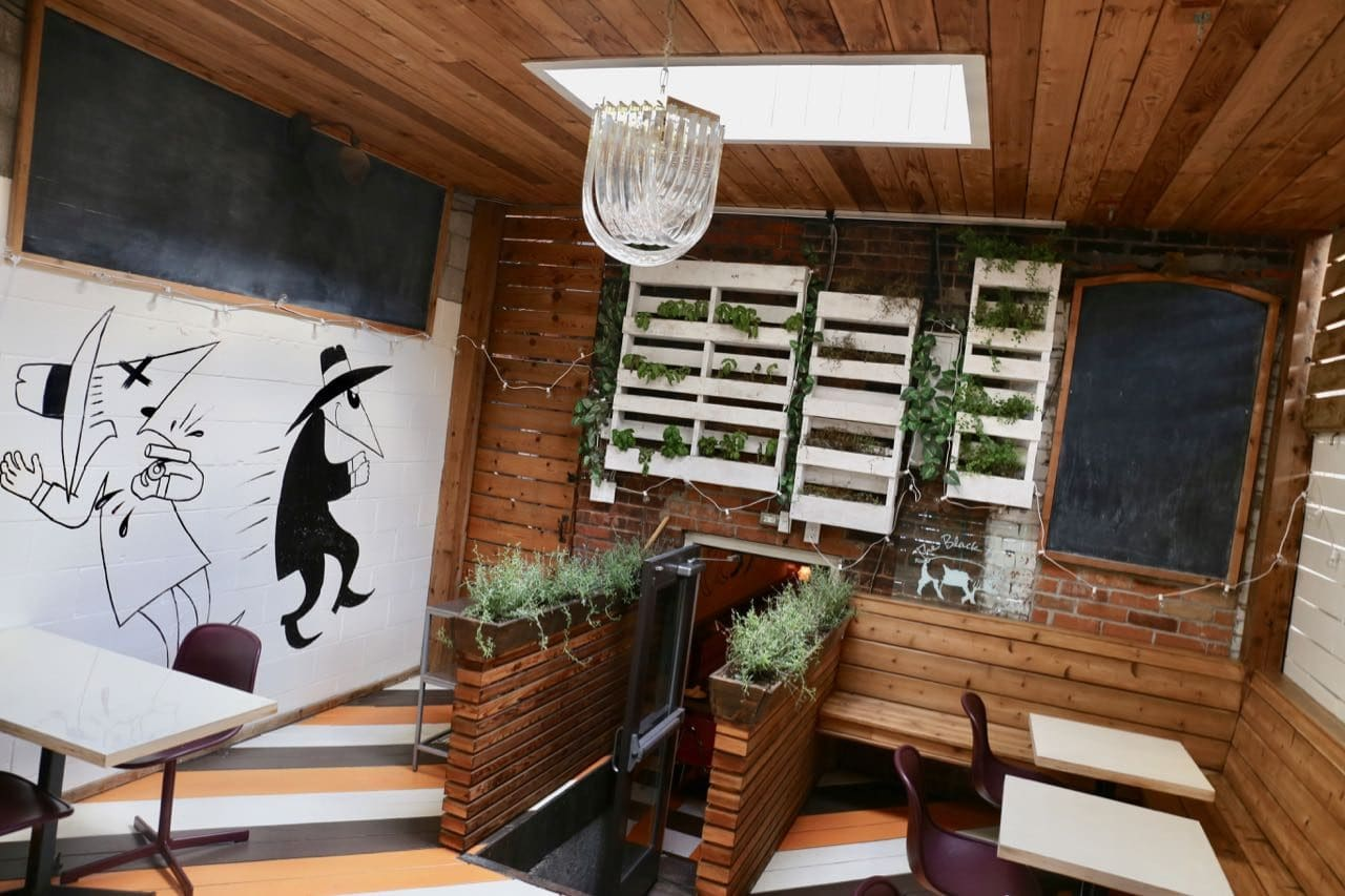 Bar Vendetta's covered back patio features potted plants and skylight.