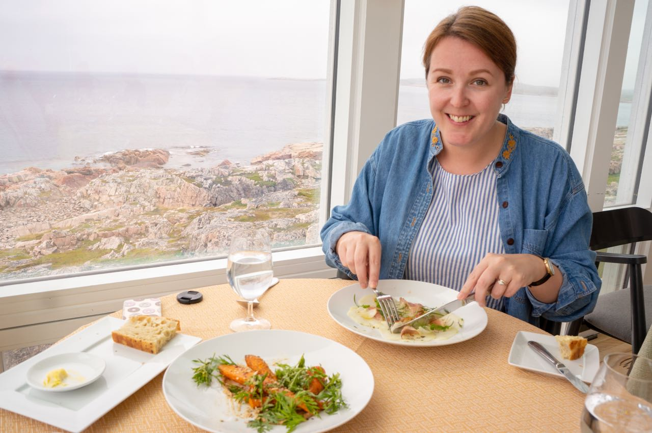 St. John's food writer Gabby Peyton at Fogo Island Inn in Newfoundland.