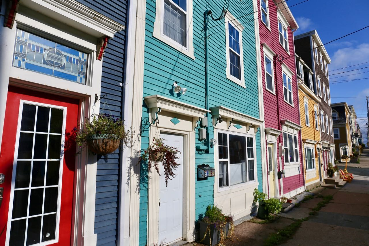 Photograph the rainbow-coloured houses on Jellybean Row.