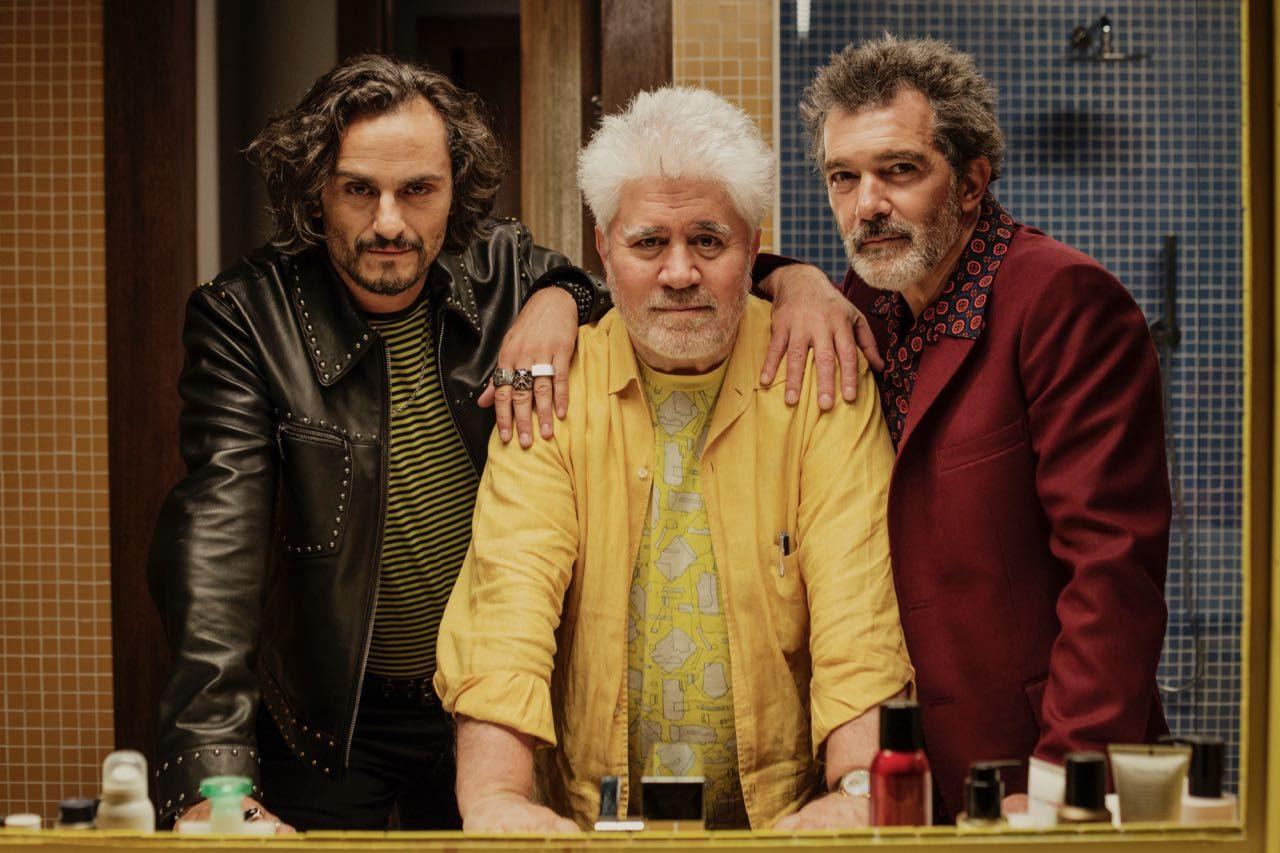 Director Pedro Almodóvar with actors Asier Etxeandia and Antonio Banderas.