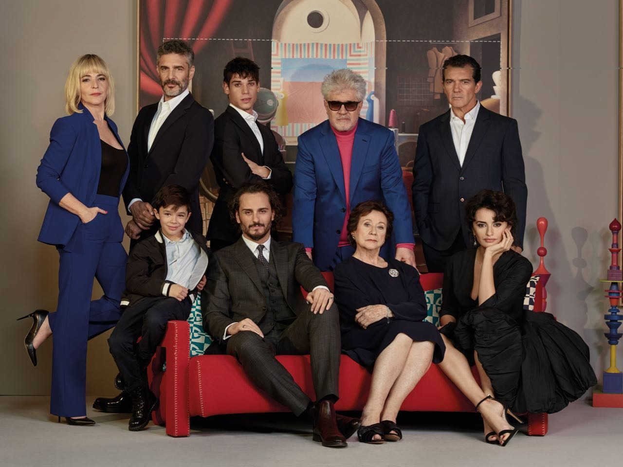 Spanish director Pedro Almodóvar and the cast of Pain and Glory.