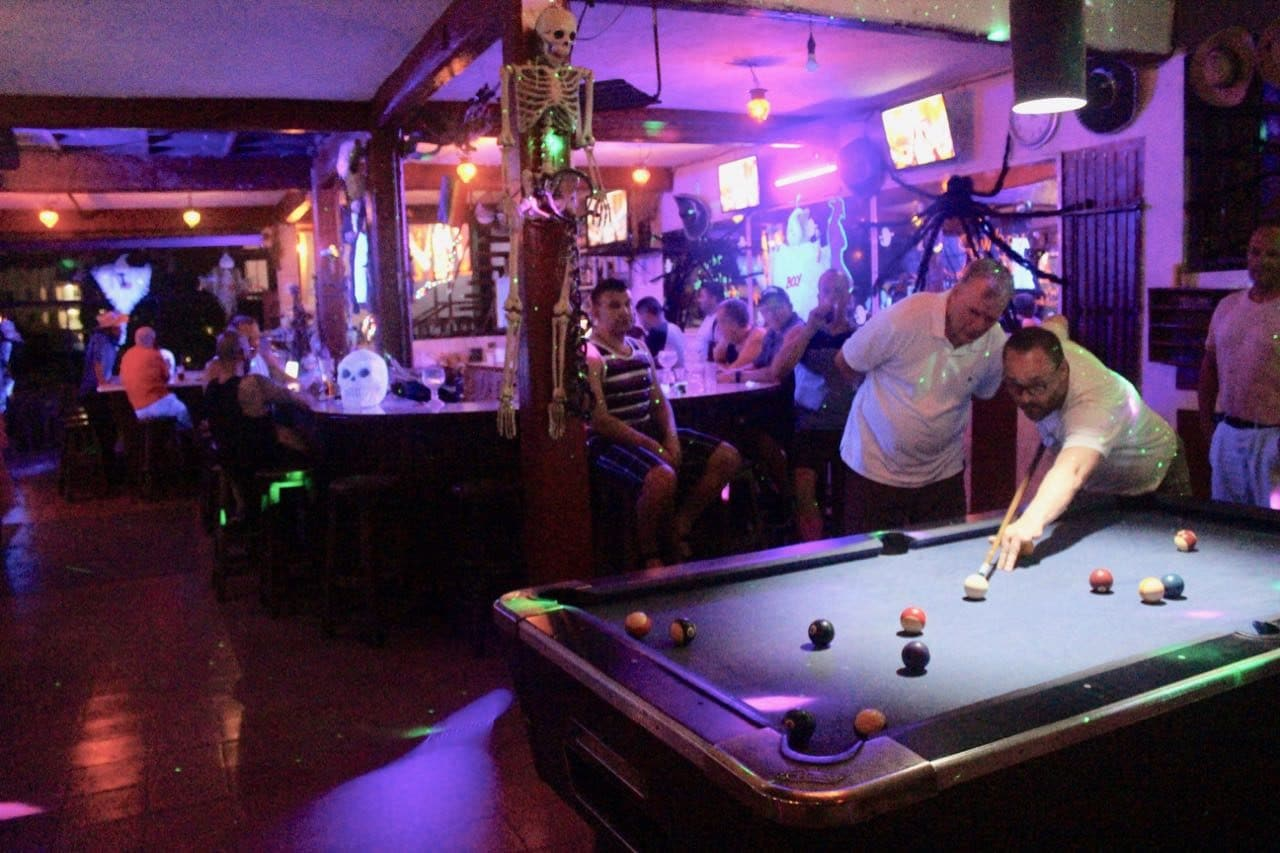 Los Amigos is a gay Mexican cantina bar with a pool table.