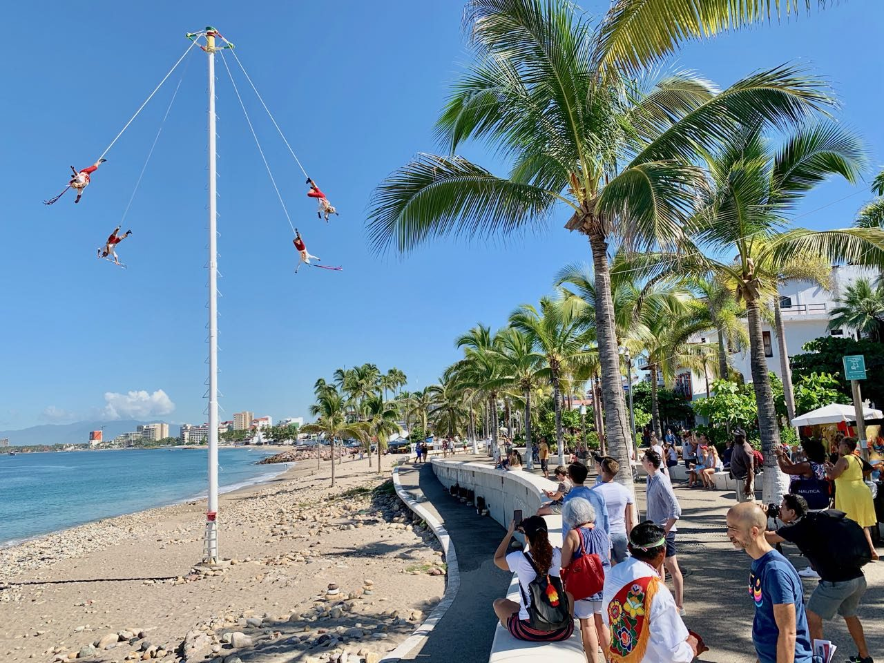 Papantla Fliers perform on Puerto Vallarta's Malecon.