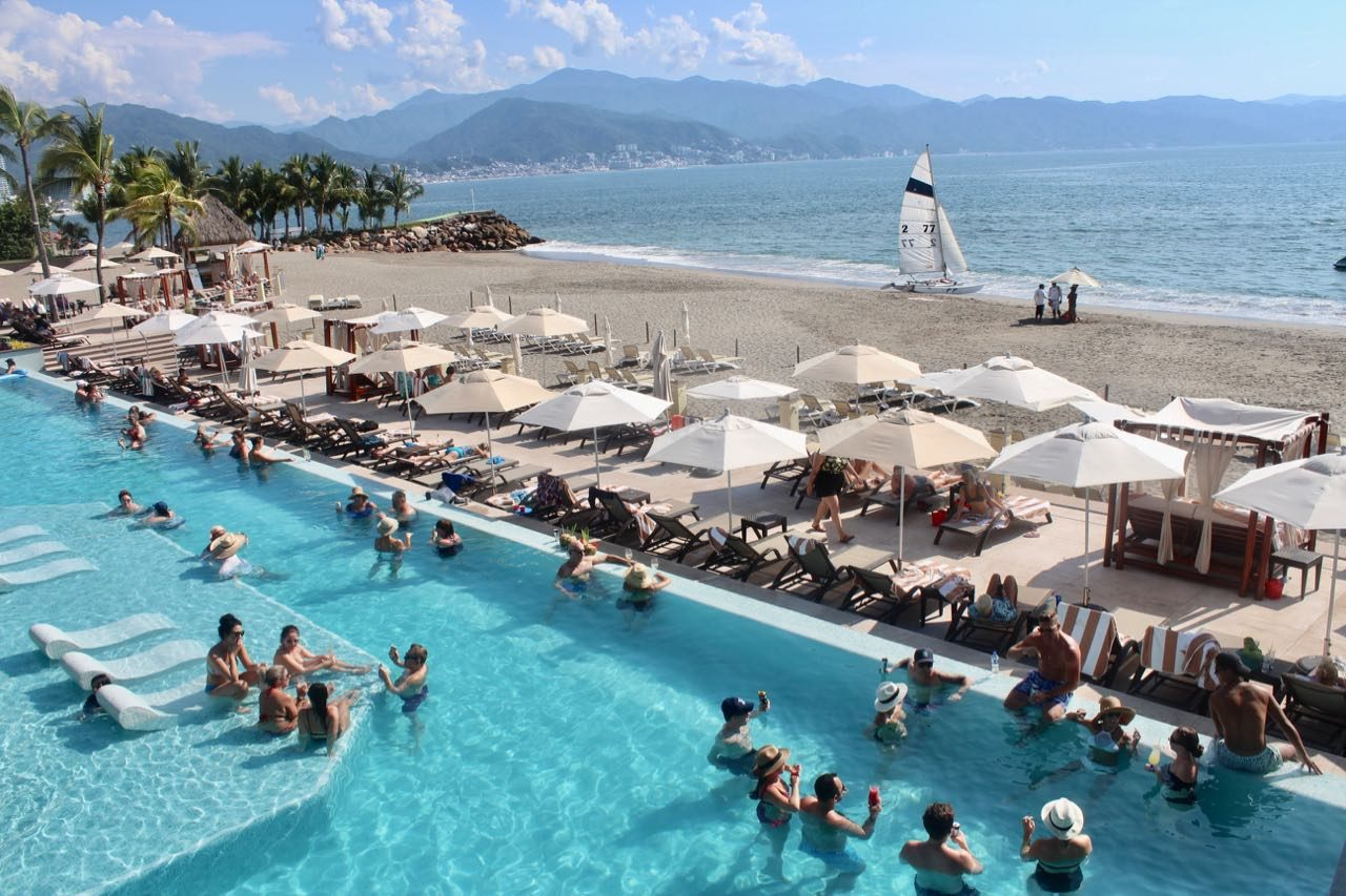 Marriott Resort has the largest pool in Puerto Vallarta.